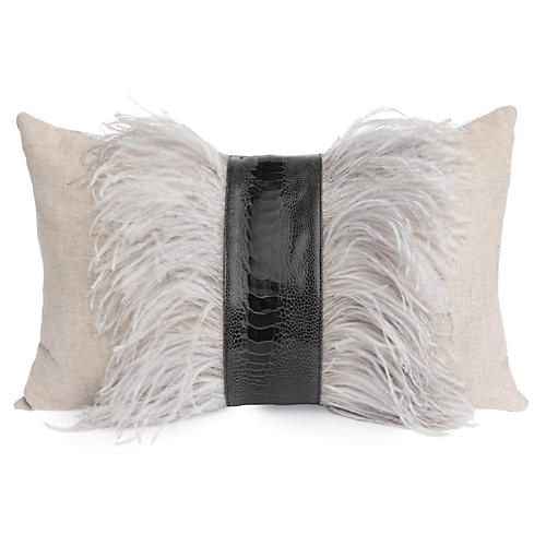 Ostrich 14x22 Lumbar Pillow, Gray