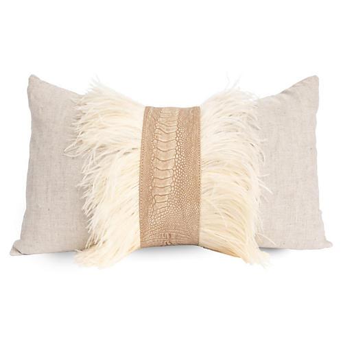 Ostrich 14x22 Lumbar Pillow, Stonewash