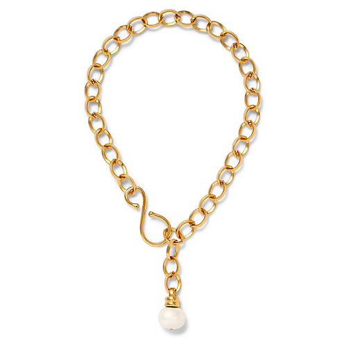14-Kt Oval Link Necklace, White Pearl