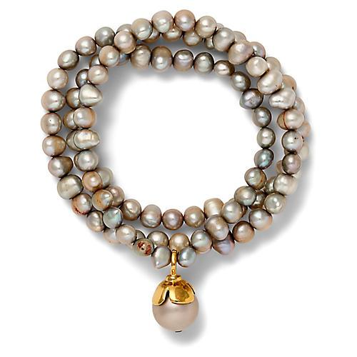 14-Kt Triple-Wrap Bracelet, Gray Pearl