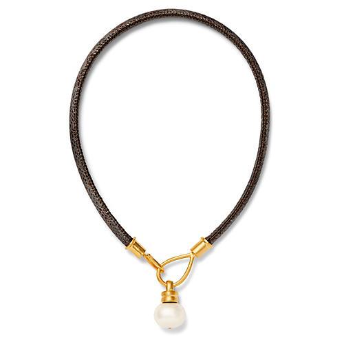 18-Kt Lasso & Hook Necklace, White Pearl/Mocha