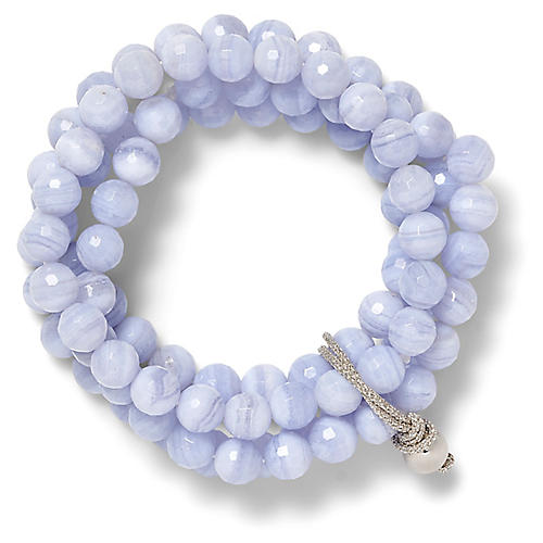 Quartz Stretch Bracelet, Pale Blue/Silver