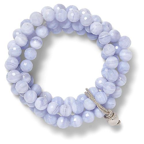 Quartz Stretch Bracelet, Pale Blue/Silver