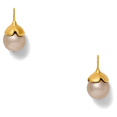14-Kt Flower Cap Earrings, Pale Gray Pearl