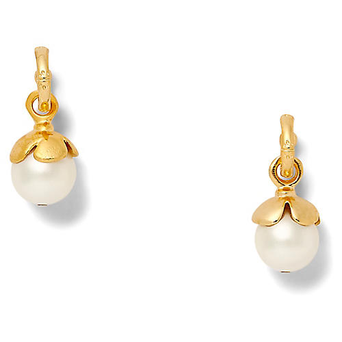14-Kt Textured Hoop Earrings, White Pearl