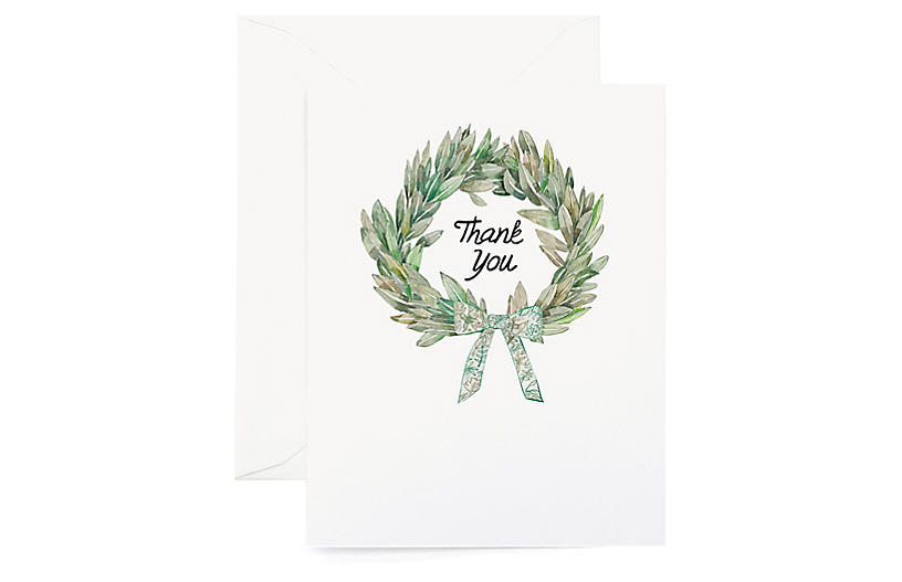S/8 Thank You Wreath Greeting Cards