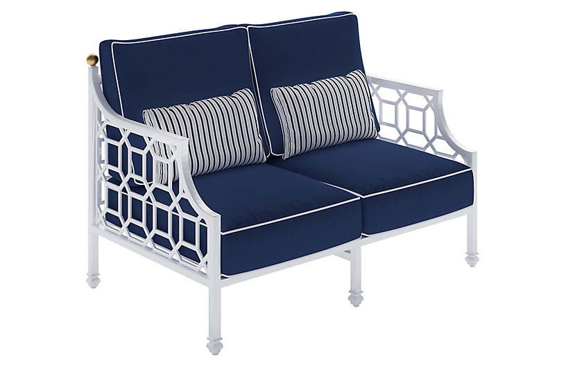 Barclay Outdoor Loveseat, White/Navy