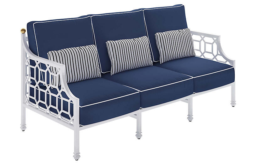 Barclay Outdoor Sofa, White/Navy