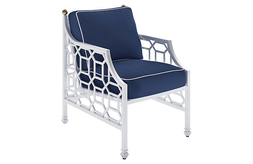 Barclay Outdoor Armchair, White/Navy