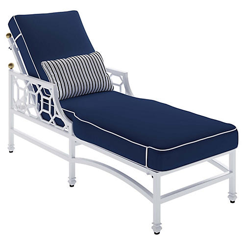 Barclay Outdoor Chaise, White/Navy