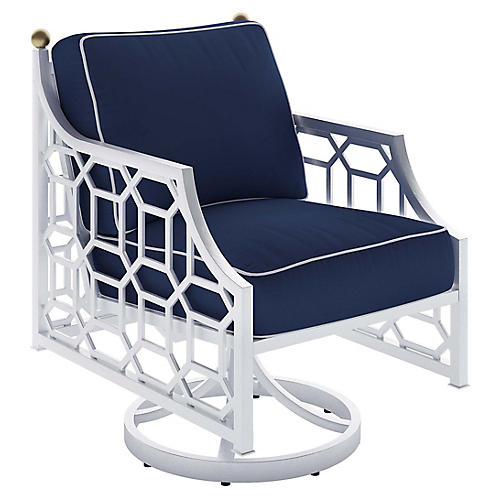 Barclay Outdoor Swivel Chair, White/Navy