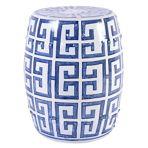 Greek Key Garden Stool, Blue/White