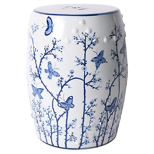 Butterfly Garden Stool, Blue/White