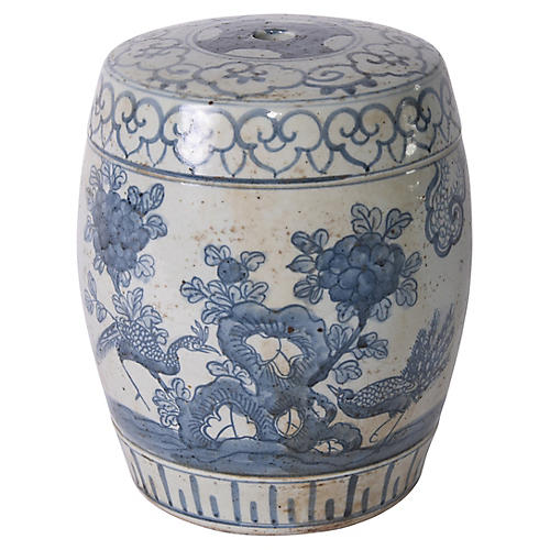 Pheasant Flower Garden Stool, Blue/White