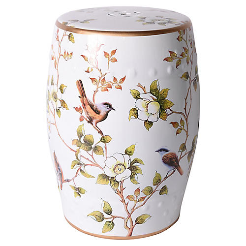 Bird Garden Stool, White