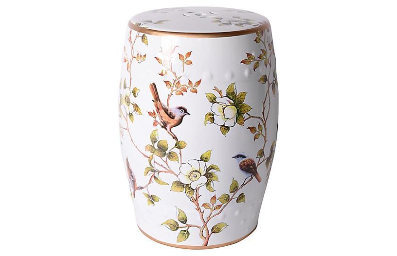 Bird Garden Stool, White
