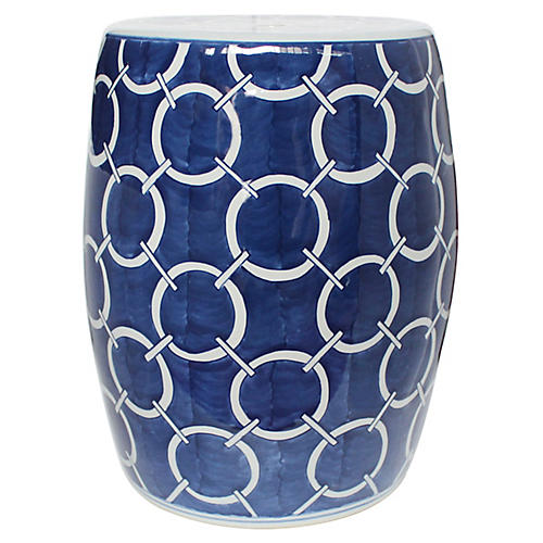 Circle Chain Garden Stool, Blue/White