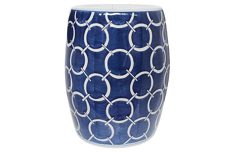 Circle Chain Garden Stool, Blue/White