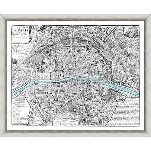 Vintage Map of Paris , Silver