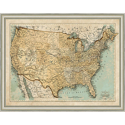 1866 Map of the USA , Silver