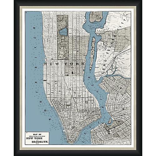1873 Map of Manhattan & Brooklyn