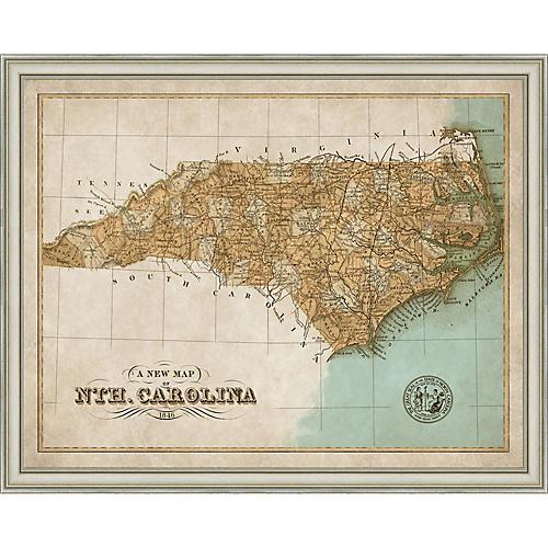 1846 Map of North Carolina , Silver
