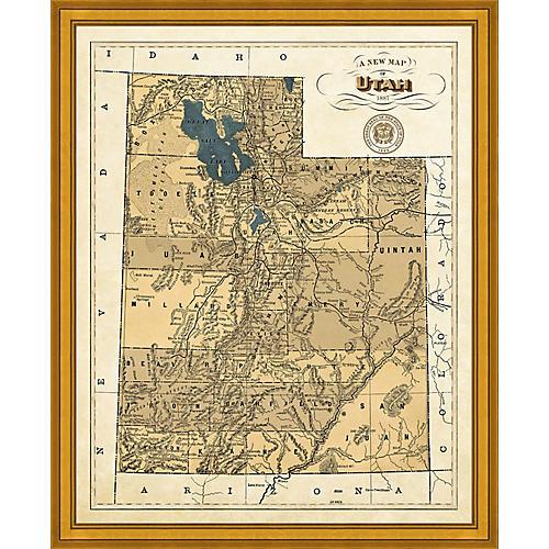 1887 Map of Utah , Gold