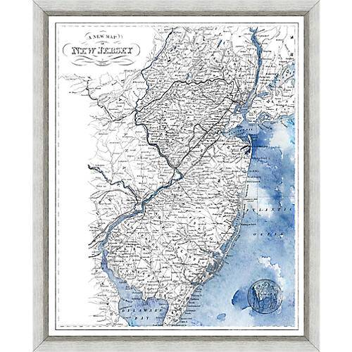 Antique Map of New Jersey , Silver