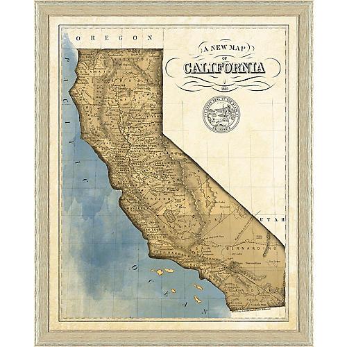 19th-Century Map of California , White