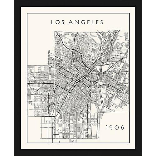 Historic Map of Los Angeles , Black