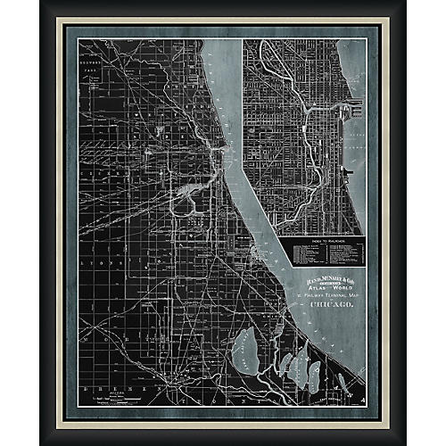 Railway Map of Chicago , Black