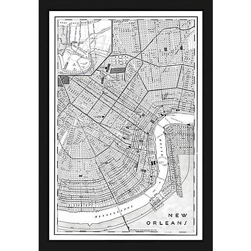 Black & White Map of New Orleans , Black