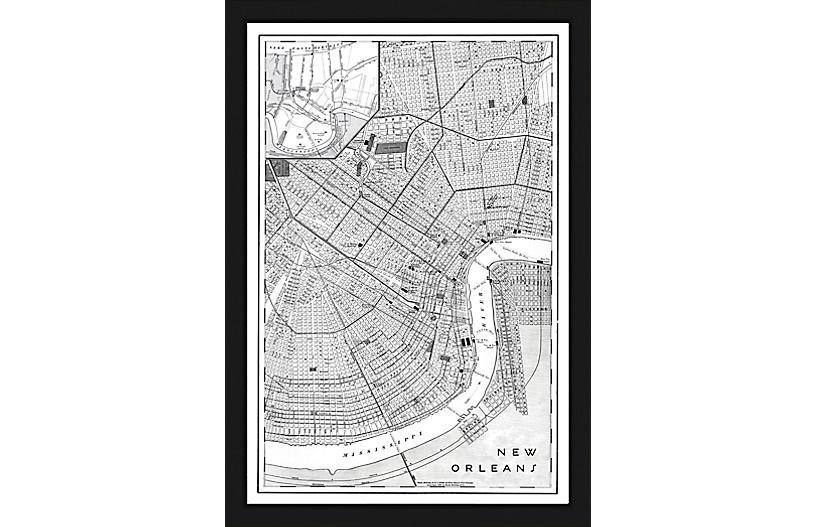 Black & White Map of New Orleans