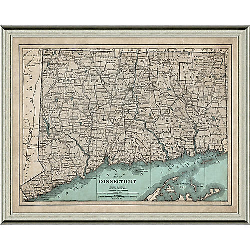 Map of Connecticut , Silver