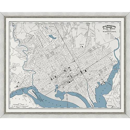 1893 Map of Washington, DC , Silver