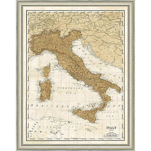 1900 Map of Italy , Silver