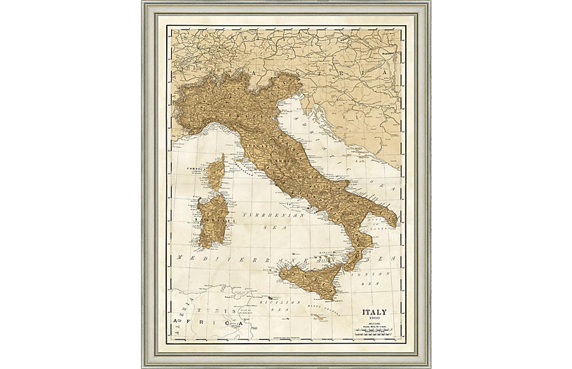 1900 Map of Italy