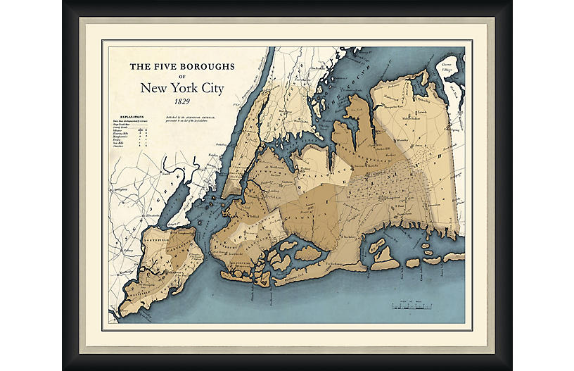 Map of New York's Five Boroughs, 1829