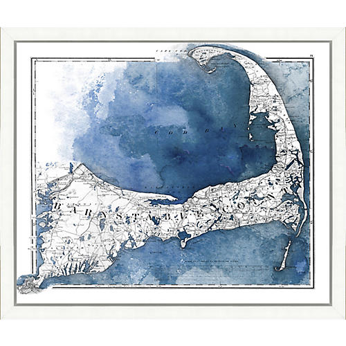 Watercolor Map of Barnstable County , White