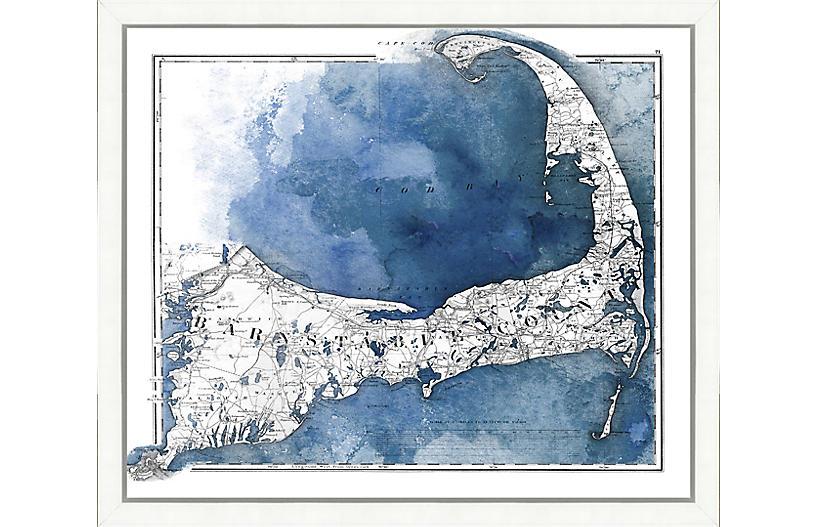 Watercolor Map of Barnstable County