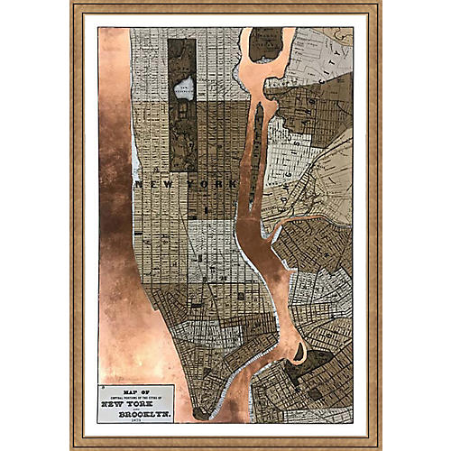 Copper-Leaf Map of New York , Bronze