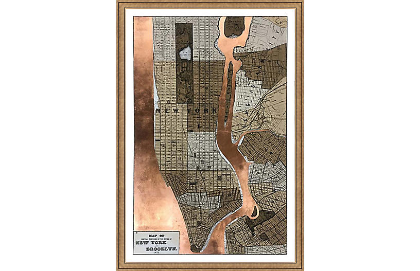 Copper-Leaf Map of New York