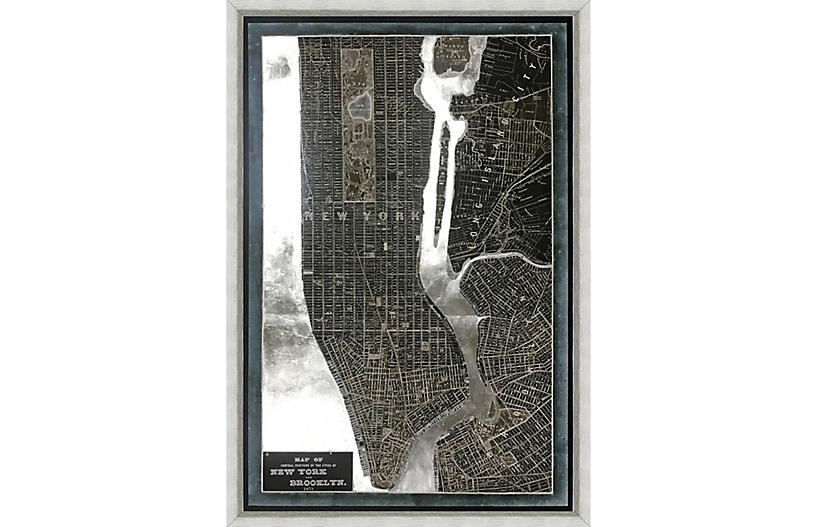 Silver-Leaf Map of New York