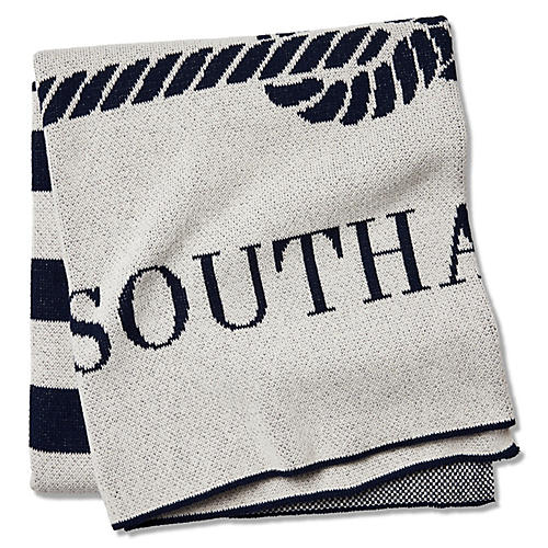 Southampton Throw, Ivory/Navy
