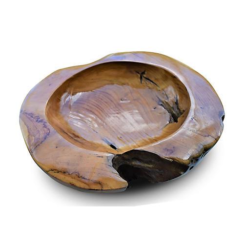 """14"""" Teak Decorative Bowl, Natural"""