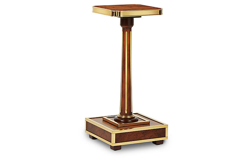 Rufus Side Table, Mahogany/Brass