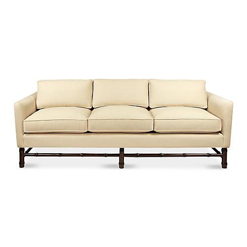 Bamboo Sofa, Natural Chenille
