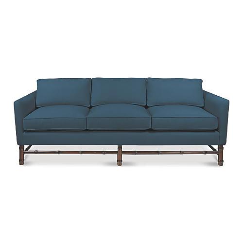 Bamboo Sofa, Denim Velvet