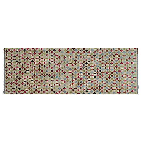 """2'6""""x7' Agra Hand-Knotted Runner, Ivory/Lime"""