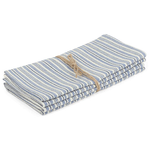 S/4 Linen Chambray Napkins, Blue